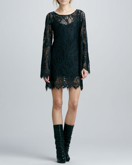 Katarina Bell-Sleeve Lace Dress