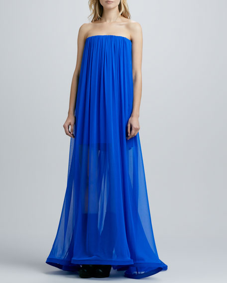 Miranda Strapless Sheer-Skirt Maxi Dress, Cobalt