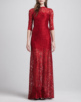 Alexis Solange Lace-Overlay Dress, Deep Red