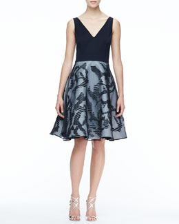 Halston Heritage Flare-Skirt Combo Dress