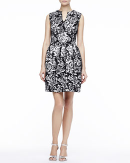 Halston Heritage Printed Split-Neck Dress