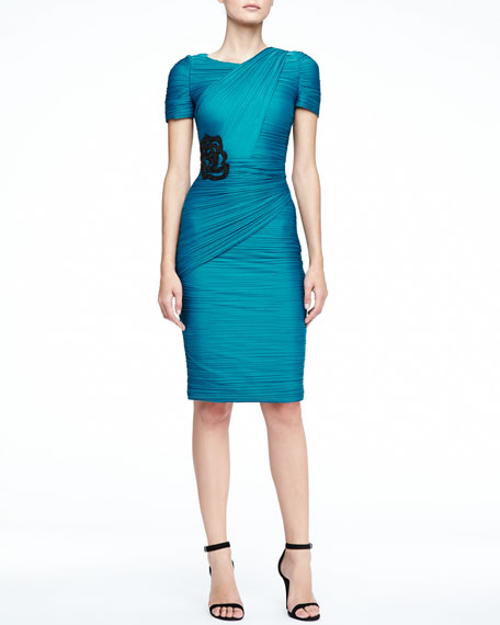 Short-Sleeve Allover-Pleated Dress