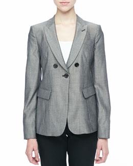 Armani Collezioni Pindot Button-Front Jacket