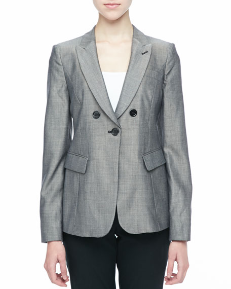 Pindot Button-Front Jacket