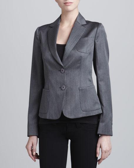 Two-Button Wool-Blend Jacket, Steel