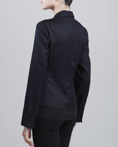 Two-Button Wool-Blend Jacket, Midnight