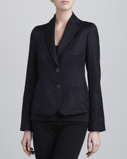 Armani Collezioni Two-Button Wool-Blend Jacket, Midnight
