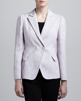 Armani Collezioni Double-Breasted Tweed Jacket, Cherry
