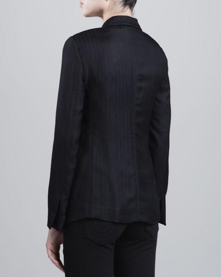 One-Button Dobby-Striped Jacket