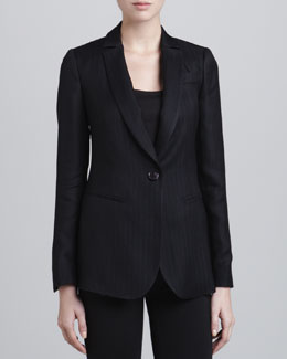 Armani Collezioni One-Button Dobby-Striped Jacket