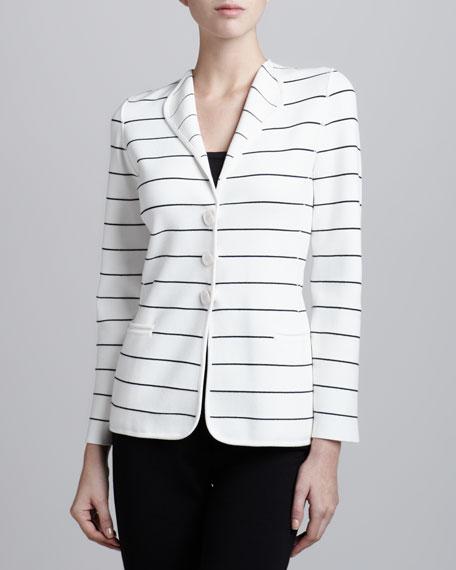 Striped Three-Button Cardigan