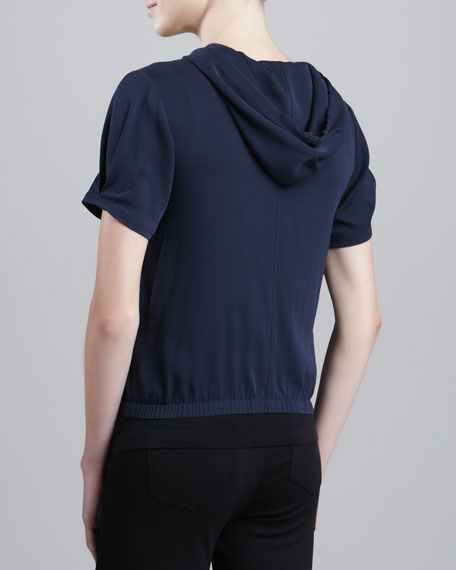 Hooded Stretch Silk Jacket