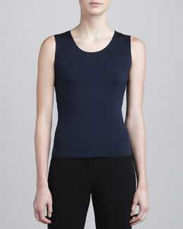Armani Collezioni Sleeveless Scoop-Neck Top, Blueberry