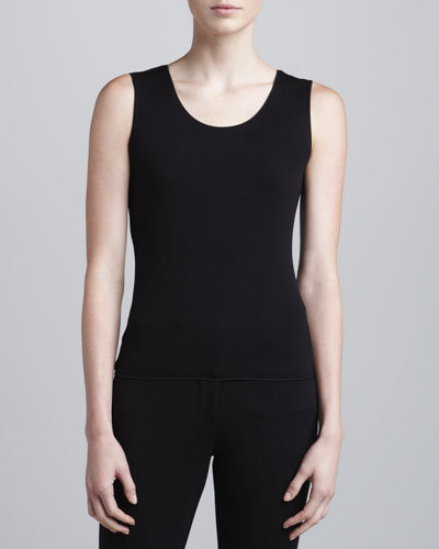 Armani Collezioni Sleeveless Scoop-Neck Top, Black