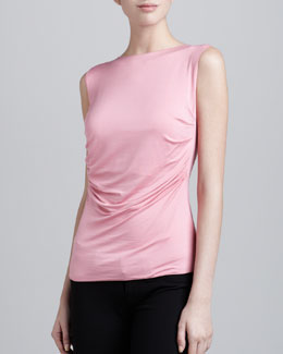 Armani Collezioni Sleeveless Ruched Jersey Top, Watermelon