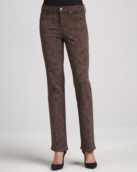 Katie Wallpaper Straight-Leg Control-Panel Jeans