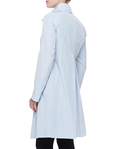 Tech Stand-Collar Trench Coat, Sky