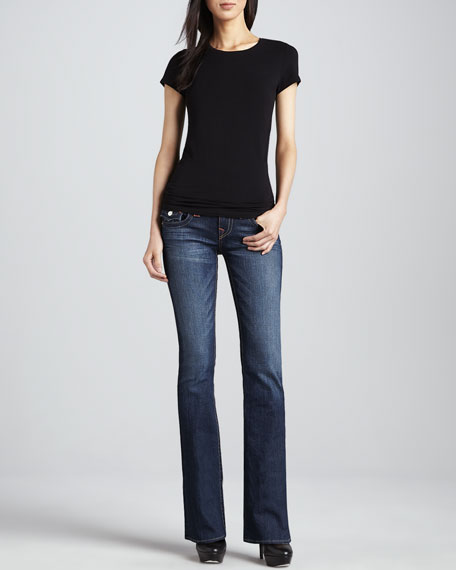 Becky Petite Boot-Cut Flap Pocket Jeans, Dusty Skies