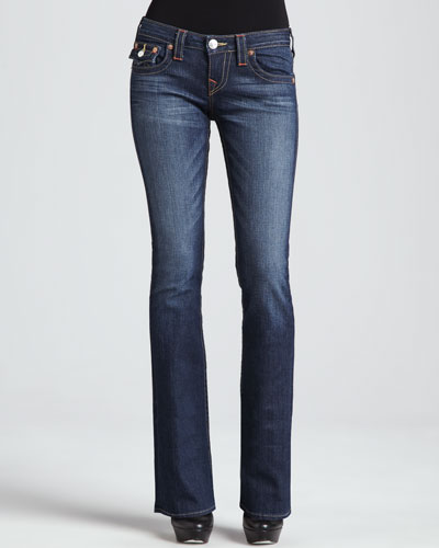 True Religion Becky Petite Boot-Cut Flap Pocket Jeans, Dusty Skies