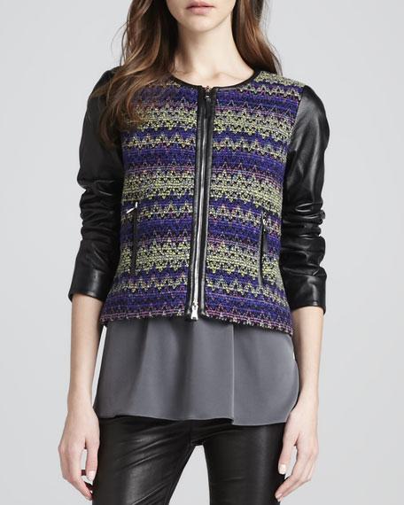 Leather-Sleeve Zipper Jacket