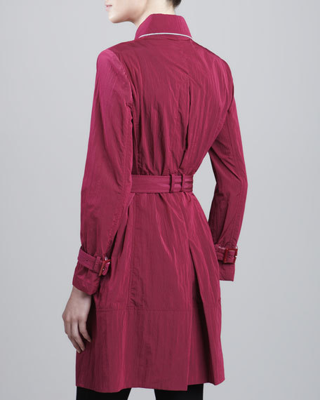 Piped Trench Coat, Raspberry