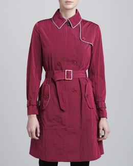 Armani Collezioni Piped Trench Coat, Raspberry
