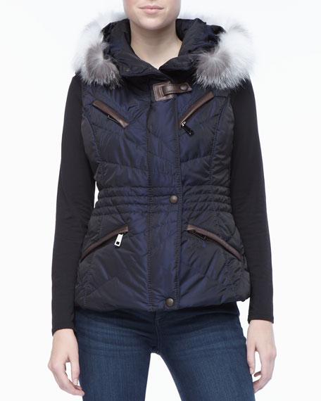 Navy Apres-Ski Vest with Fur-trimmed Hood