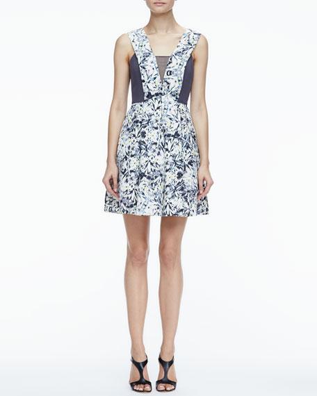Printed Sheer-Inset Dress
