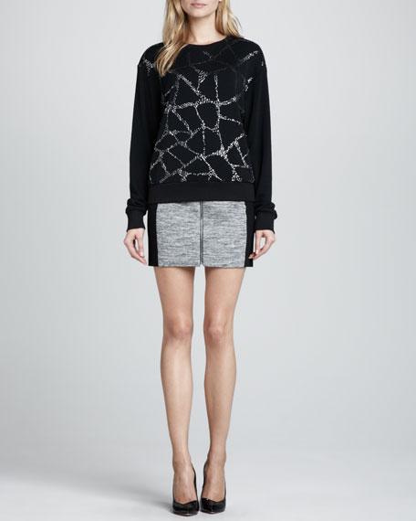 Melange Knit Fitted Skirt