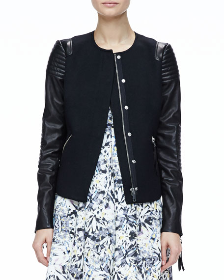 Leather-Sleeve Twill Jacket