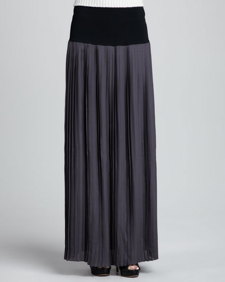 Knit-Waist Pleated Maxi Skirt
