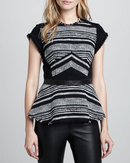 Tweed Leather-Waist Peplum Top