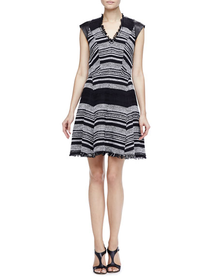 Leather-Sleeve Flared Tweed Dress