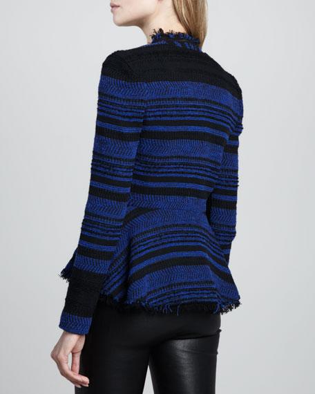 Striped Leather-Trim Tweed Jacket