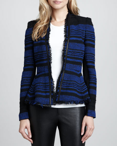 Striped Leather-Trim Tweed Jacket