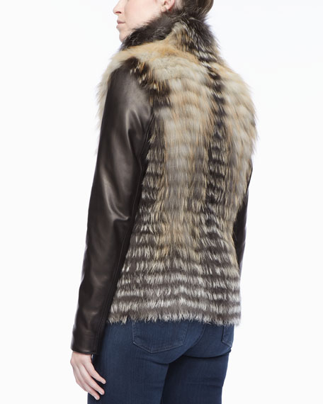 Gorski Horizontal Lined Fur Jacket with Leather