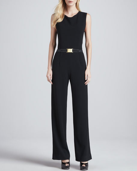 Sleeveless Knit Jumpsuit, Black