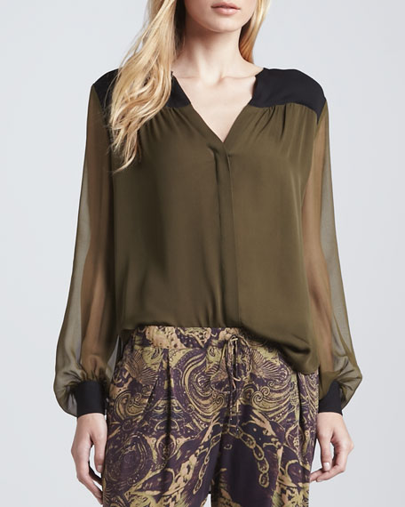 Colorblock Silk Blouse, Military/Black
