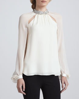 Haute Hippie Crystal-Collar Silk Blouse