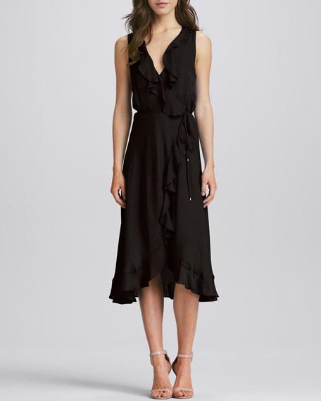 Sleeveless Ruffled Silk Dress