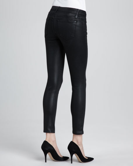 Coated Skinny Ankle Jeans, Jet