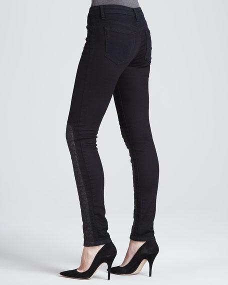 Corah Leather-Panel Skinny Jeans
