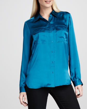 Charmeuse Button-Front Blouse