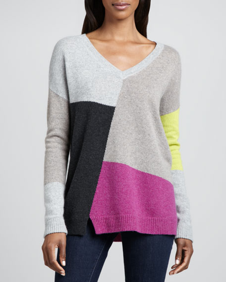 Intarsia V-Neck Cashmere Sweater