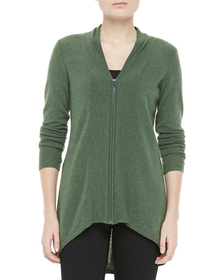 Cashmere Zip-Front Hi-Low Cardigan
