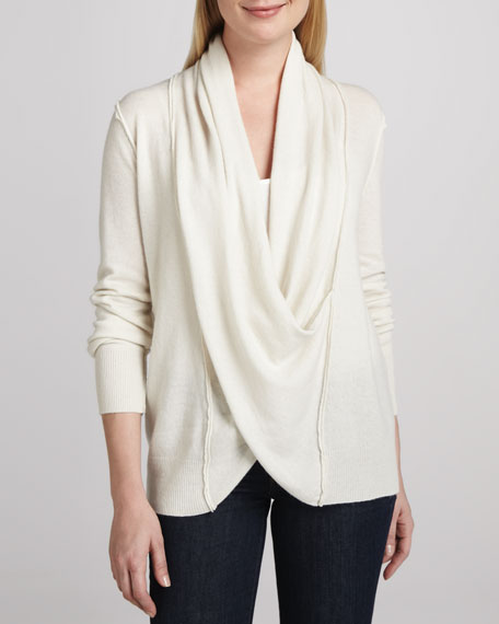 Crossover Draped Cashmere Sweater