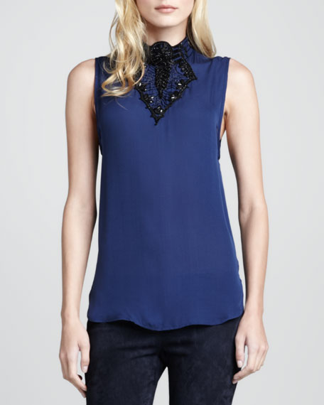 Embellished Sleeveless Silk Blouse