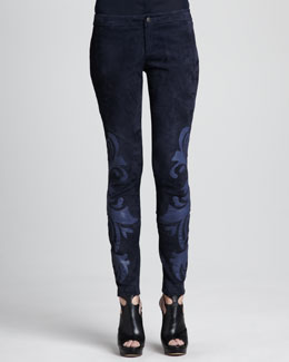 Haute Hippie Leather-Applique Suede Pants