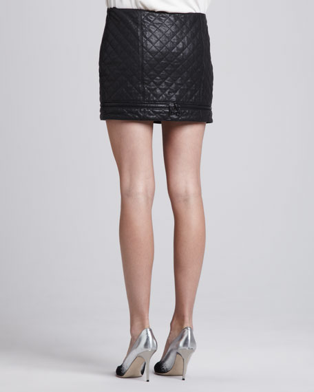 Quilted Leather Zip Miniskirt