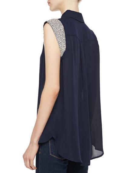 Sequin-Sleeve Silk Blouse